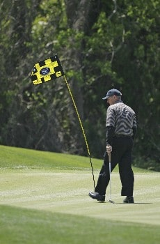 Wayne Levi walks past the wind-blown flag at #9 during the final round of the 2005 Liberty Mutual Legends of Golf. Sunday April 24, 2005 in Savannah.Photo by Chris Condon/PGA TOUR/WireImage.com