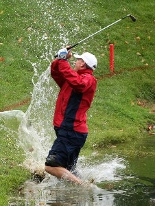 Woody Austin of the U.S. Team hits a shot from the water on the 14th hole during the round two fourball matches at the Presidents Cup at The Royal Montreal Golf Club September 28, 2007 in Montreal, Quebec, Canada. PGA TOUR - 2007 The Presidents Cup - Second RoundPhoto by Scott Halleran/WireImage.com