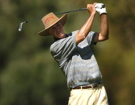 Hubert Green tees off on the 7th hole during the first round of the Champions' Tour 2005 SBC Classic at the Valencia Country Club in Valencia, California March 11, 2005.