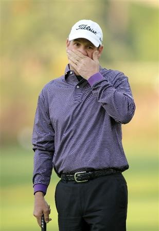PACIFIC PALISADES, CA - FEBRUARY 18:  Harrison Frazar reacts to his missed putt for eagle on the first hole during the second round of the Northern Trust Open at the Riviera Country Club on February 18, 2011 in Pacific Palisades, California.  (Photo by Harry How/Getty Images)