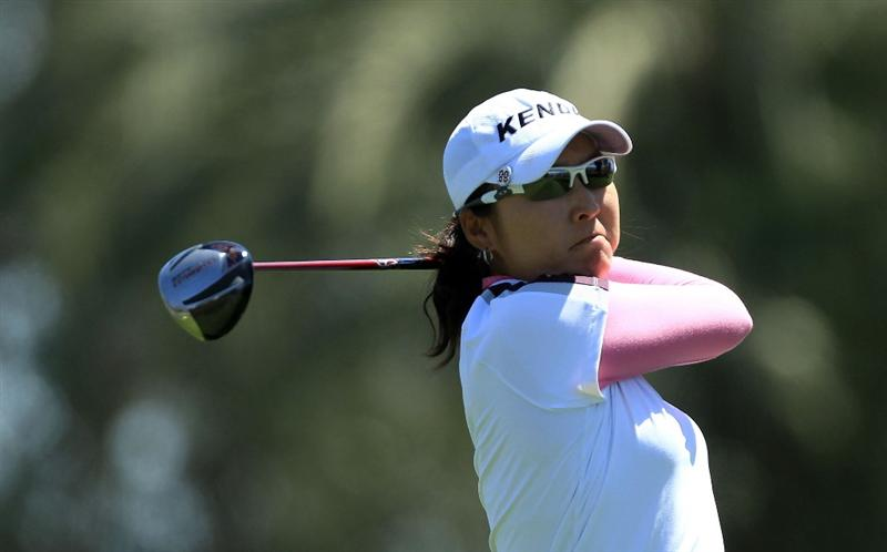 RANCHO MIRAGE, CA - APRIL 01: Candie Kung of Taiwan tees off at the 16th hole during the first round of the 2010 Kraft Nabisco Championship, on the Dinah Shore Course at The Mission Hills Country Club, on April 1, 2010 in Rancho Mirage, California.  (Photo by David Cannon/Getty Images)