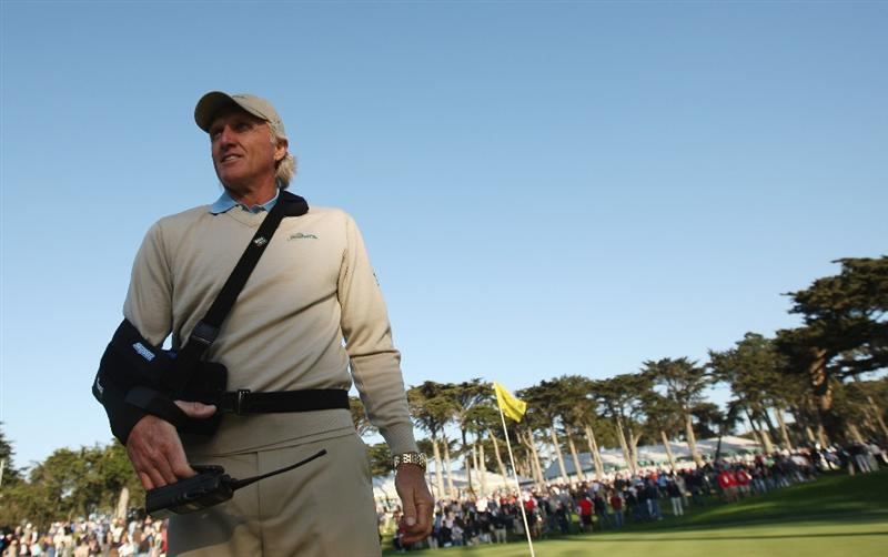 SAN FRANCISCO - OCTOBER 09:  International Team Captain, Greg Norman looks on during the Day Two Fourball Matches of The Presidents Cup at Harding Park Golf Course on October 9, 2009 in San Francisco, California.  (Photo by Warren Little/Getty Images)