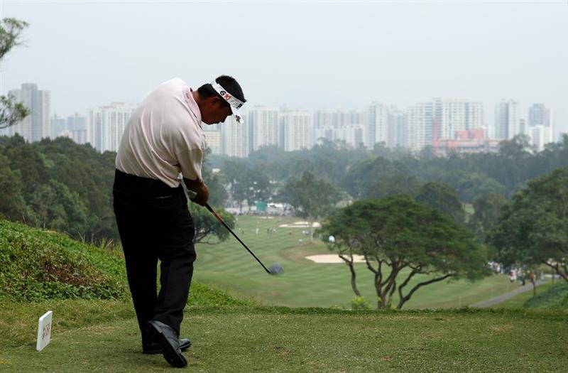 HONG KONG, CHINA - NOVEMBER 23:  Lin Wen - Tang of Taiwan plays his tee shot on the third hole during the final round of the UBS Hong Kong Open at the Hong Kong Golf Club on November 23, 2008 in Fanling, Hong Kong.  (Photo by Stuart Franklin/Getty Images)