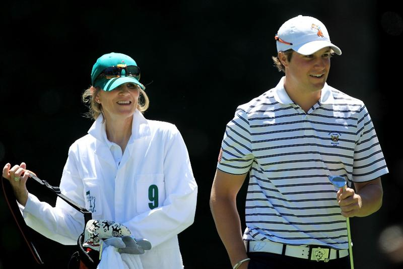 AUGUSTA, GA - APRIL 06:  Amateur Peter Uihlein waits on a green with his caddie during the Par 3 Contest prior to the 2011 Masters Tournament at Augusta National Golf Club on April 6, 2011 in Augusta, Georgia.  (Photo by David Cannon/Getty Images)
