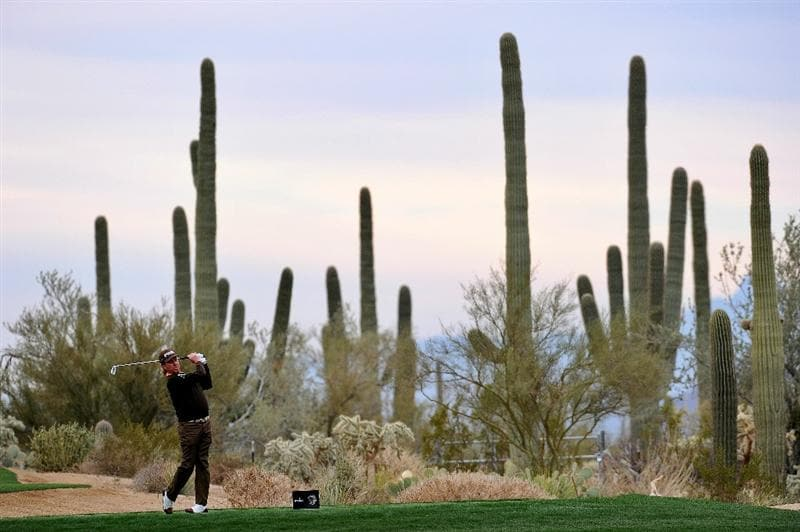 MARANA, AZ - FEBRUARY 26:  Miguel Angel Jimenez of Spain hits his tee shot on the fourth hole during the quarterfinal round of the Accenture Match Play Championship at the Ritz-Carlton Golf Club on February 26, 2011 in Marana, Arizona.  (Photo by Stuart Franklin/Getty Images)