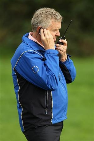 NEWPORT, WALES - SEPTEMBER 30:  Europe Team Captain Colin Montgomerie is seen during a practice round prior to the 2010 Ryder Cup at the Celtic Manor Resort on September 30, 2010 in Newport, Wales.  (Photo by Ross Kinnaird/Getty Images)