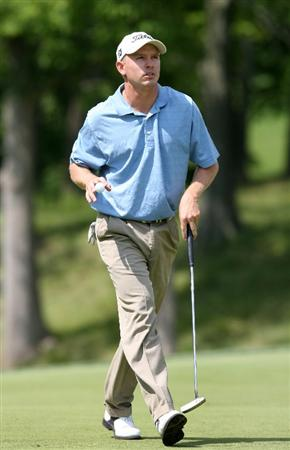 COLUMBUS, OH - AUGUST 02 : Derek Lamely walks off the 16th green after making birdie during the final round of the Nationwide Children's Hospital Invitational at The Ohio State Golf Club on August 2, 2009 in Columbus, Ohio. (Photo by Hunter Martin/Getty Images)