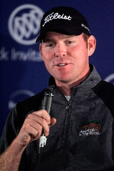 LA JOLLA, CA - JANUARY 24:  Troy Matteson speaks at a press conference following the first round of the Buick Invitational at the Torrey Pines Golf Course on January 24, 2008 in La Jolla, California.  (Photo by Jeff Gross/Getty Images)