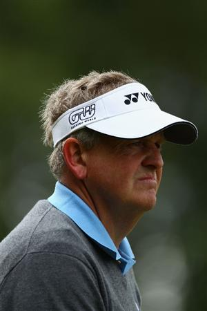 VIRGINIA WATER, ENGLAND - MAY 26:  Colin Montgomerie of Scotland looks on during the first round of the BMW PGA Championship at Wentworth Club on May 26, 2011 in Virginia Water, England.  (Photo by Richard Heathcote/Getty Images)