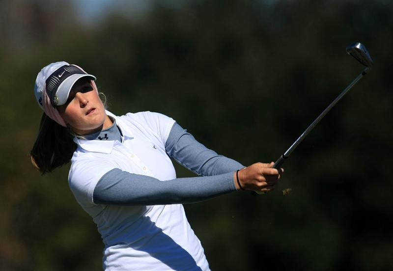 DAYTONA BEACH, FL - DECEMBER 07:  Anna Grzebien watches her tee shot on the 14th hole during the final round of the LPGA Qualifying School at LPGA International on December 7, 2008 in Daytona Beach, Florida.  (Photo by Scott Halleran/Getty Images)