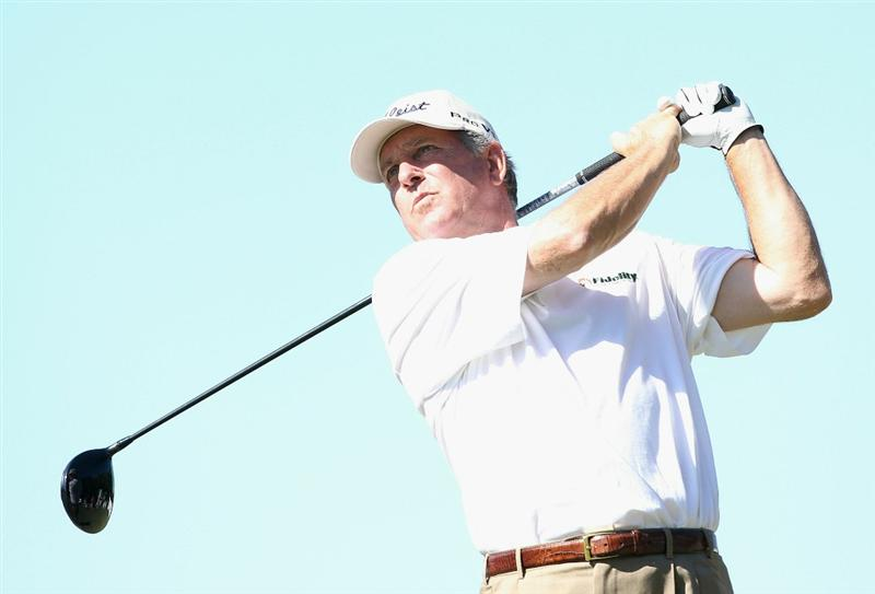 CONOVER, NC - OCTOBER 02:  Jay Haas hits a tee shot on the 18th hole during the second round of the Ensure Classic at the Rock Barn Golf & Spa on October 2, 2010 in Conover, North Carolina.  (Photo by Christian Petersen/Getty Images)