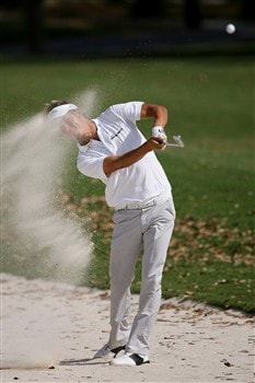PONTE VEDRA BEACH, FL - MAY 11:  Fredrik Jacobson of Sweden plays his shot from a bunker on the 15th hole during the final round of THE PLAYERS Championship on THE PLAYERS Stadium Course at TPC Sawgrass on May 11, 2008 in Ponte Vedra Beach, Florida.  (Photo by Andy Lyons/Getty Images)