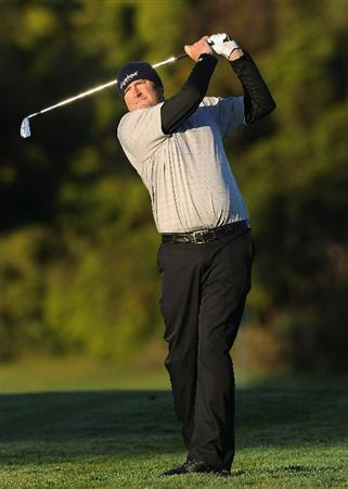 PACIFIC PALISADES, CA - FEBRUARY 17:  Steve Marino plays his approach shot on the first hole during the first round of the Northern Trust Open at Riviera Country Club on February 17, 2011 in Pacific Palisades, California.  (Photo by Stuart Franklin/Getty Images)