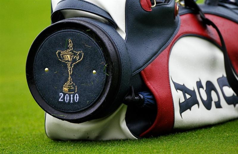 NEWPORT, WALES - SEPTEMBER 29:  General detail of a Team USA golf bag during a practice round prior to the 2010 Ryder Cup at the Celtic Manor Resort on September 29, 2010 in Newport, Wales. (Photo by Sam Greenwood/Getty Images)