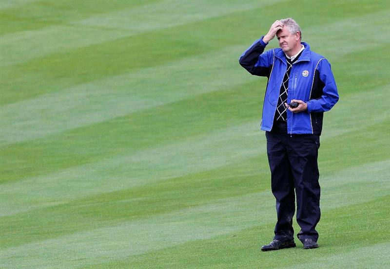 NEWPORT, WALES - OCTOBER 03:  Europe Captain Colin Montgomerie looks on during the  Fourball & Foursome Matches during the 2010 Ryder Cup at the Celtic Manor Resort on October 3, 2010 in Newport, Wales.  (Photo by Sam Greenwood/Getty Images)