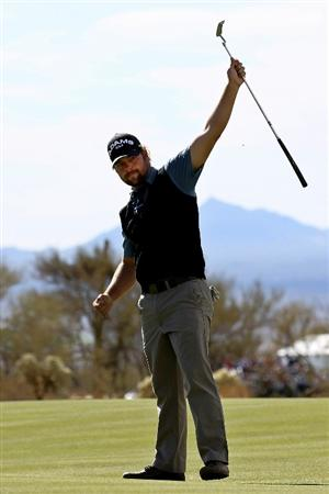 MARANA, AZ - FEBRUARY 25:  Ryan Moore celebrates winning his match over Nick Watney (not pictured) on the 19th hole during the third round of the Accenture Match Play Championship at the Ritz-Carlton Golf Club on February 25, 2011 in Marana, Arizona.  (Photo by Sam Greenwood/Getty Images)
