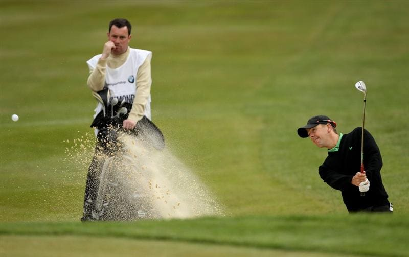 VIRGINIA WATER, ENGLAND - MAY 26:  Scott Drummond of Scotland hits from a bunker on the 3rd hole during the first round of the BMW PGA Championship at Wentworth Club on May 26, 2011 in Virginia Water, England.  (Photo by Ian Walton/Getty Images)