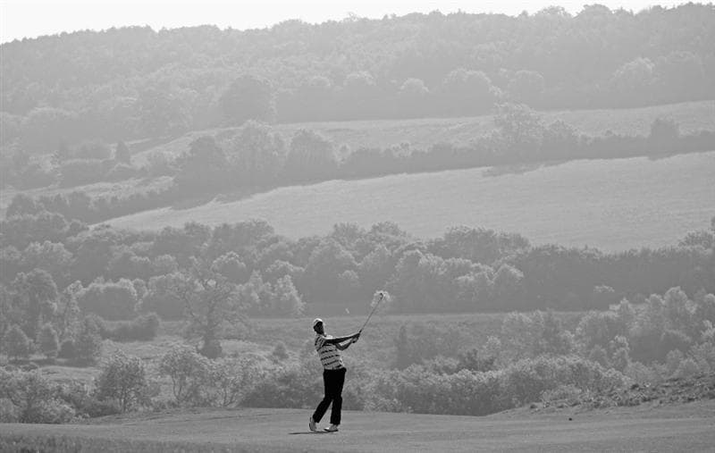 NEWPORT, WALES - JUNE 03:  Chris Wood of England hits his second shot on the 16th hole during the first round of the Celtic Manor Wales Open on The Twenty Ten Course at The Celtic Manor Resort on June 3, 2010 in Newport, Wales.  (Photo by Andrew Redington/Getty Images)