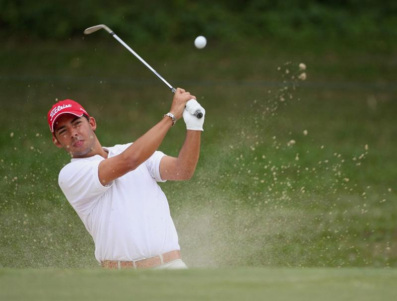 HONG KONG, CHINA - NOVEMBER 22:  Pablo Larrazabal of Spain plays his bunker shot on the 15th hole during the third round of the UBS Hong Kong Open at the Hong Kong Golf Club on November 22, 2008 in Fanling, Hong Kong.  (Photo by Stuart Franklin/Getty Images)
