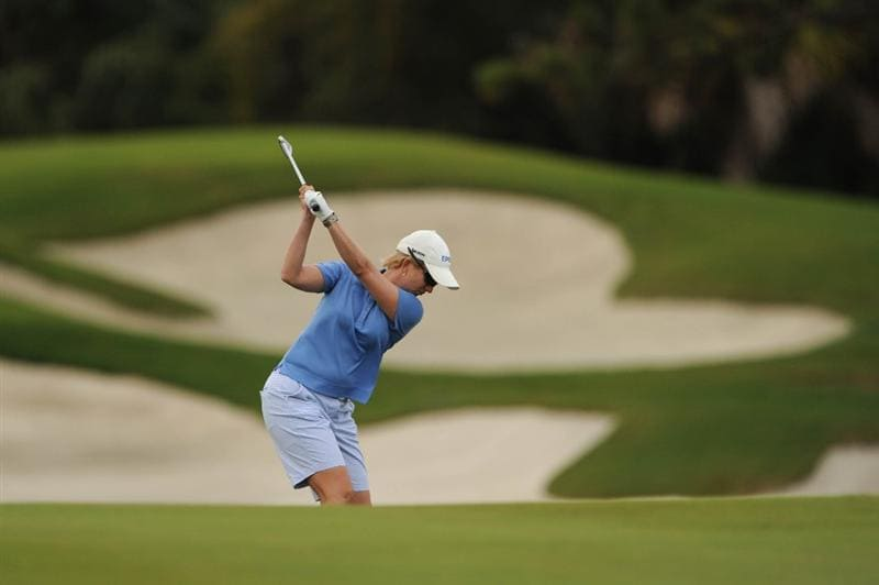 WEST PALM BEACH, FL - NOVEMBER 23:  Karrie Webb of Australia hits her approach to number eight during the final round of the ADT Championship at the Trump International Golf Club on November 23, 2008 in West Palm Beach, Florida.  (Photo by Montana Pritchard/Getty Images)