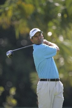 Tom Byrum hits from the 7th tee in the third round of the Ford Championship at Doral in Miami, Florida. March 5, 2005