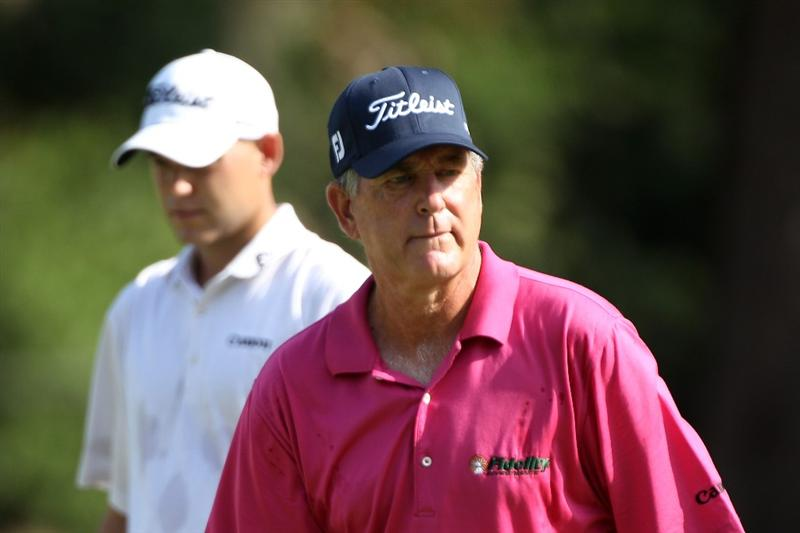 PONTE VEDRA BEACH, FL - MAY 04:  Jay Haas (R) and his son Bill Haas look on during a practice round prior to the start of THE PLAYERS Championship held at THE PLAYERS Stadium course at TPC Sawgrass on May 4, 2010 in Ponte Vedra Beach, Florida.  (Photo by Scott Halleran/Getty Images)