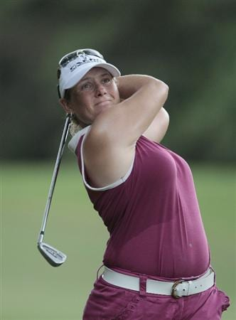 MOBILE, AL - SEPTEMBER 11:  Karen Stupples of England watches her approach to the 9th hole during first round play in the Bell Micro LPGA Classic at Magnolia Grove Golf Course on September 11, 2008 in Mobile, Alabama.  (Photo by Dave Martin/Getty Images)