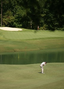 R.W. Eaks hits his his approach on the 7th hole during the final round of the Champions Tour - 2007 Greater Hickory Classic at Rock Barn Golf and Spa on September 16, 2007 in Conover, North Carolina . Champions Tour - 2007 Greater Hickory Classic at Rock Barn - Final RoundPhoto by Mike Ehrmann/WireImage.com