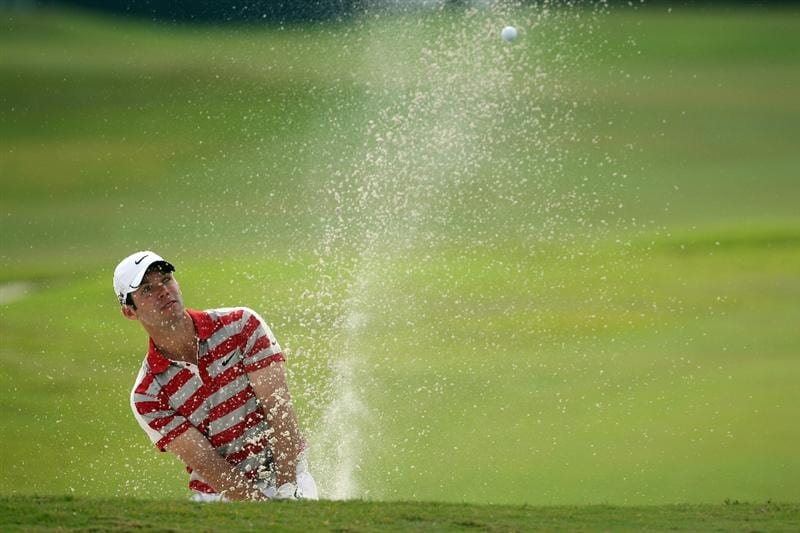 DORAL, FL - MARCH 12:  Paul Casey of England hits his third shot at the 1st hole during the first round of the World Golf Championships-CA Championship at the Doral Golf Resort & Spa on March 12, 2009 in Miami, Florida  (Photo by David Cannon/Getty Images)