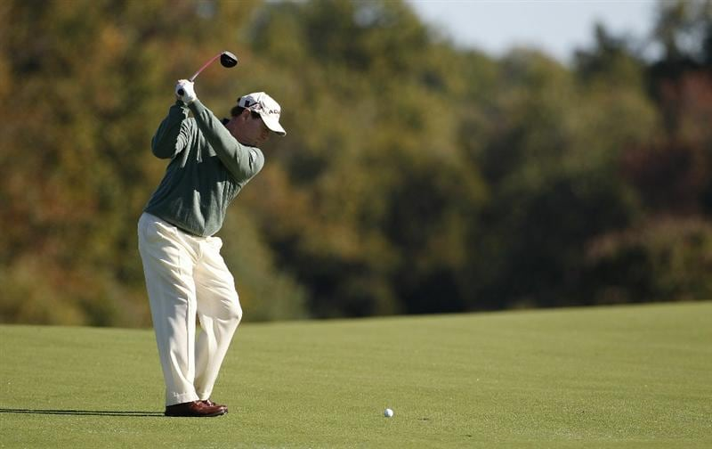 POTOMAC, MD - OCTOBER 08: Tom Watson hits his second shot on the second hole during the second round of the Constellation Energy Senior Players Championship held at TPC Potomac at Avenel Farm on October 8, 2010 in Potomac, Maryland.  (Photo by Michael Cohen/Getty Images)