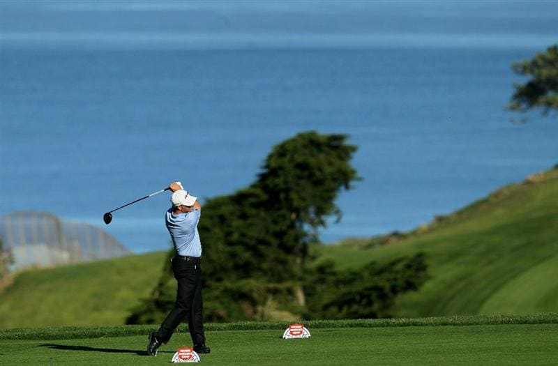 LA JOLLA, CA - JANUARY 27:  Scott McCarron hits his tee shot on the second hole during round one of the Farmers Insurance Open at Torrey Pines North Course on January 27, 2011 in La Jolla, California.  (Photo by Stephen Dunn/Getty Images)