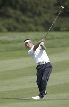 Hidemichi Tanaka plays a fairway wood during the second round of the 2005 Barclays Classic at Westchester Country Club in  Harrison, New York on June 24, 2005.Photo by Michael Cohen/WireImage.com