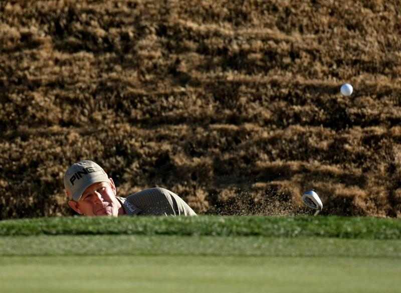 SCOTTSDALE, AZ - JANUARY 29:  Jeff Maggert hits out of a bunker on the sixth hole during the first round of the FBR Open on January 29, 2009 at TPC Scottsdale in Scottsdale, Arizona.  (Photo by Stephen Dunn/Getty Images)