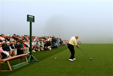AUGUSTA, GA - APRIL 10:  Honorary starter Arnold Palmer hits the ceremonial first tee shot during the first round of the 2008 Masters Tournament at Augusta National Golf Club on April 10, 2008 in Augusta, Georgia.  (Photo by Harry How/Getty Images)