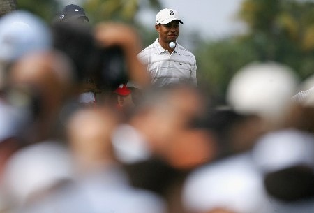 MIAMI - MARCH 21:  Tiger Woods of the USA prepares to tee off on the ninth hole during the second round of the 2008 World Golf Championships CA Championship at the Doral Golf Resort & Spa, on March 21, 2008 in Miami, Florida.  (Photo by Warren Little/Getty Images)