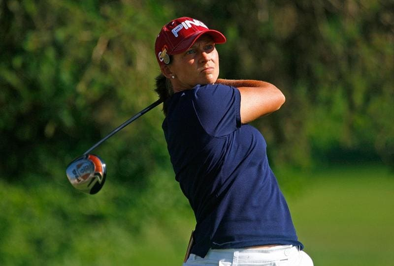 BETHLEHEM, PA - JULY 09:  Angela Stanford hits her tee shot on the third hole during the first round of the 2009 U.S. Women's Open at the Saucon Valley Country Club on July 9, 2009 in Bethlehem, Pennsylvania.  (Photo by Scott Halleran/Getty Images)