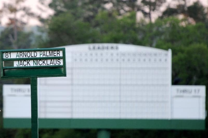 AUGUSTA, GA - APRIL 07:  The names of Arnold Palmer and Jack Nicklaus are placed in a standard on the first tee during the first round of the 2011 Masters Tournament at Augusta National Golf Club on April 7, 2011 in Augusta, Georgia.  (Photo by Harry How/Getty Images)