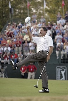Bart Bryant celebrates after sinking a putt on the 18th green during the final round to win THE TOUR Championship at East Lake Golf Club in Atlanta, Georgia on November 6, 2005.Photo by Hunter Martin/WireImage.com
