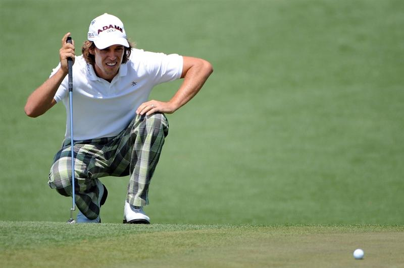 AUGUSTA, GA - APRIL 09:  Aaron Baddeley of Australia lines up a putt on the second hole during the first round of the 2009 Masters Tournament at Augusta National Golf Club on April 9, 2009 in Augusta, Georgia.  (Photo by Harry How/Getty Images)