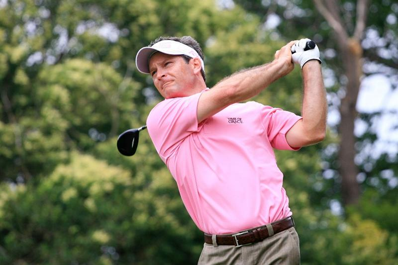 FORT WORTH, TX - MAY 20: Mark Wilson hits his tee shot on the ninth hole during the second round of the Crowne Plaza Invitational at Colonial Country Club on May 20, 2011 in Fort Worth, Texas. (Photo by Hunter Martin/Getty Images)
