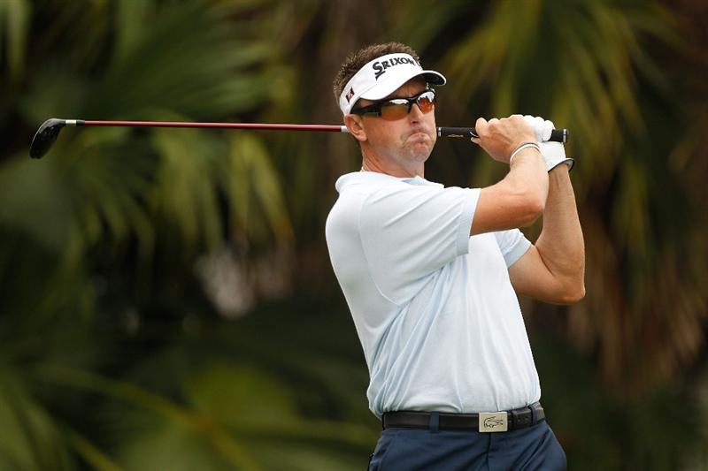 DORAL, FL - MARCH 12:  Robert Allenby of Australia tees off on the 13th tee box during round two of the 2010 WGC-CA Championship at the TPC Blue Monster at Doral on March 12, 2010 in Doral, Florida.  (Photo by Scott Halleran/Getty Images)