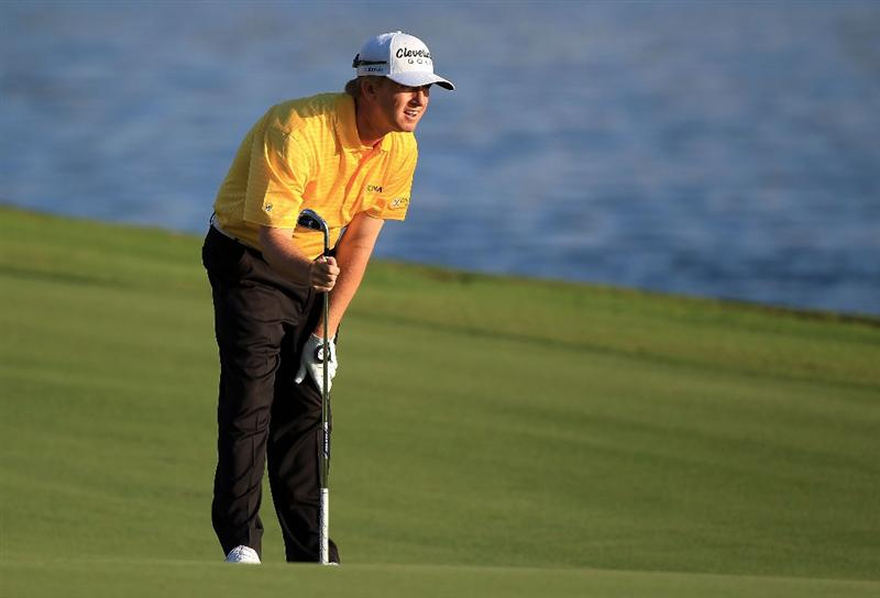 PONTE VEDRA BEACH, FL - MAY 15:  David Toms looks on from the 18th fairway during the final round of THE PLAYERS Championship held at THE PLAYERS Stadium course at TPC Sawgrass on May 15, 2011 in Ponte Vedra Beach, Florida. K.J. Choi of South Korea defeated David Toms in a playoff to win. (Photo by Streeter Lecka/Getty Images)