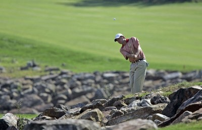 Bo Van Pelt hits his approach shot on the 12th hole during the fourth and final round of the 84 LUMBER Classic held on the Mystic Rock Course at Nemacolin Woodlands Resort & Spa in Farmington, Pennsylvania, on September 17, 2006.Photo by Hunter Martin/WireImage.com