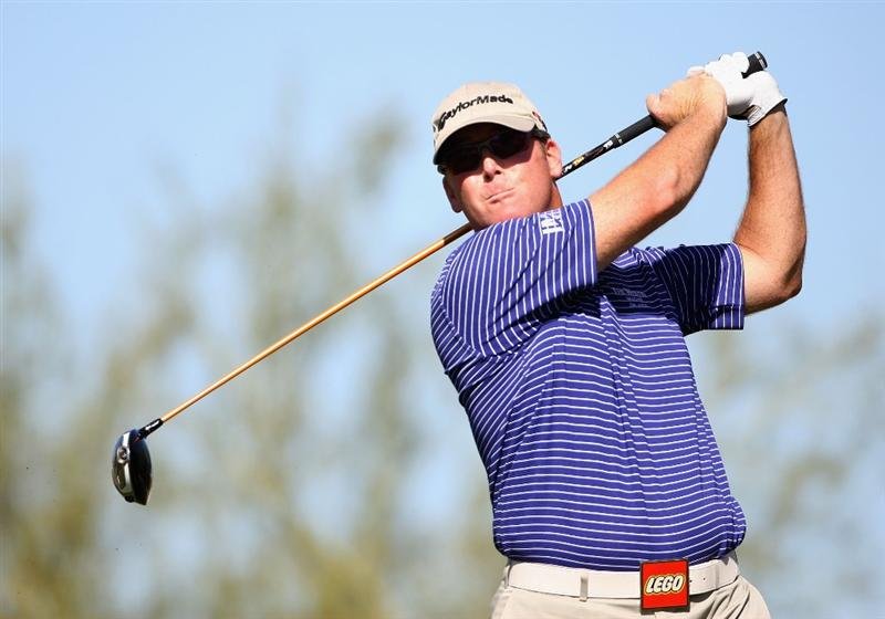 SCOTTSDALE, AZ - OCTOBER 22:  D.A. Points hits a tee shot on the 18th hole during the first round of the Frys.com Open at Grayhawk Golf Club on October 22, 2009 in Scottsdale, Arizona.  (Photo by Christian Petersen/Getty Images)