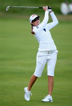LYTHAM ST ANNES, ENGLAND - JULY 30:  Paula Creamer of USA hits an approach shot during the first round of the 2009 Ricoh Women's British Open Championship held at Royal Lytham St Annes Golf Club, on July 30, 2009 in  Lytham St Annes, England.  (Photo by David Cannon/Getty Images)