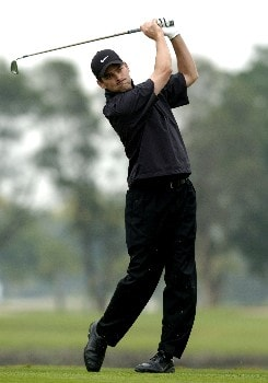 Franklin Langham hits from the ninth tee  during second-round competition March 4, 2005  at the  2005 Ford Championship at Doral in Miami.   Langham shot a 67 to tie for the early lead at nine under par.