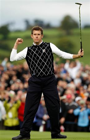 NEWPORT, WALES - OCTOBER 03:   Lee Westwood of Europe celebrates holing a putt on the 10th green during the  Fourball & Foursome Matches during the 2010 Ryder Cup at the Celtic Manor Resort on October 3, 2010 in Newport, Wales. (Photo by Sam Greenwood/Getty Images)