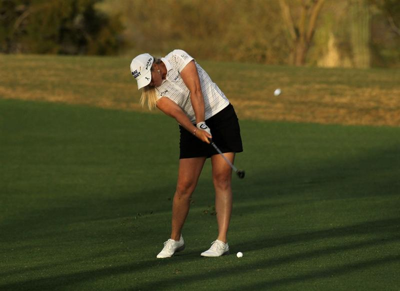 PHOENIX, AZ - MARCH 19:  Brittany Lincicome hits her second shot on the 16th hole during the second round of the RR Donnelley LPGA Founders Cup at Wildfire Golf Club on March 19, 2011 in Phoenix, Arizona.  (Photo by Stephen Dunn/Getty Images)