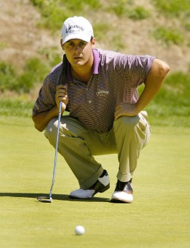Jeff Quinney line up his putt on the sixth hole during the final round of the Nationwide Tour Xerox Classic in Rochester, New York, Aug. 21, 2005.Photo by Kevin Rivoli/WireImage.com