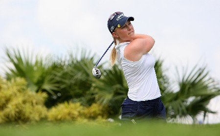 SINGAPORE - FEBRUARY 27:  Morgan Pressel of USA tees off on the 11th hole during the Pro-Am prior to the start of the HSBC Women's Champions at Tanah Merah Country Club on February 27, 2008 in Singapore.  (Photo by Andrew Redington/Getty Images)